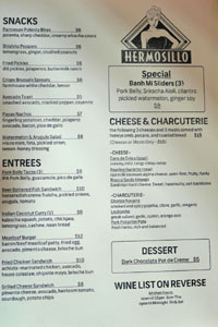 The Hermosillo Menu