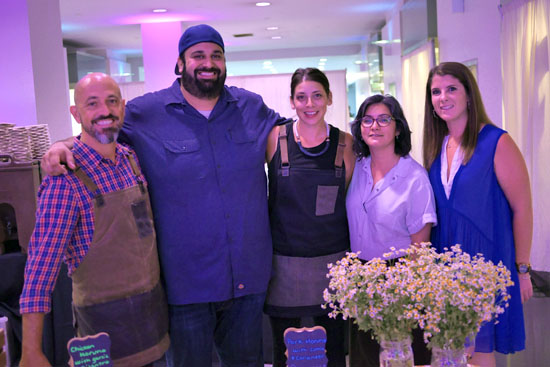 David Rosoff, Chef Chris Feldmeier, PR Manager Tessa Naso & Moruno Team