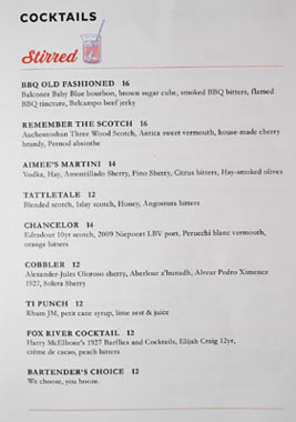 Belcampo Meat Co. Cocktail List: Stirred
