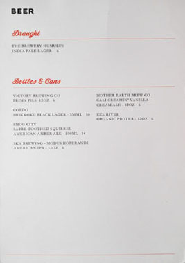 Belcampo Meat Co. Beer List