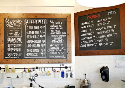 Aussie Pie Kitchen Menu