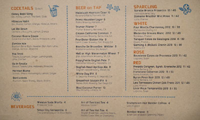 A-Frame Cocktail/Beer/Wine List