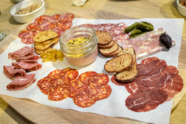 the baller board: all of the meats, ciabatta, butter, & cornichon