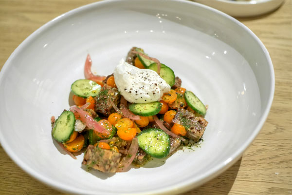 summer panzanella, house-cultured yogurt, dill, & sunflower
