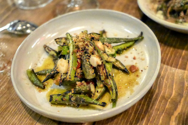 Grilled okra, calabrian chili, pickled garlic, mint