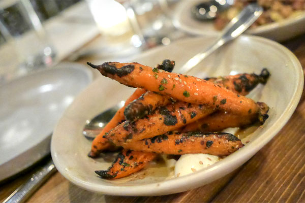 grilled carrots, warm honey, chimichurri, yogurt, benne