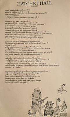 Hatchet Hall Menu