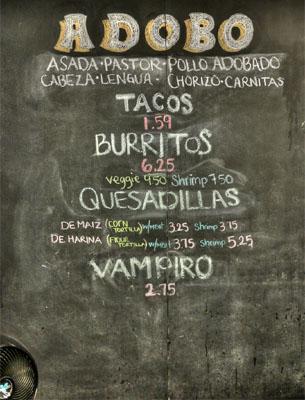 Adobo Taco Grill Menu