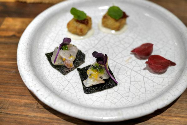 Pickled Radish, Japanese Seabass, Pork Trotter
