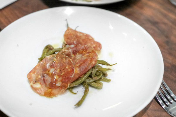 Roasted Green Beans, Sliced Salumi