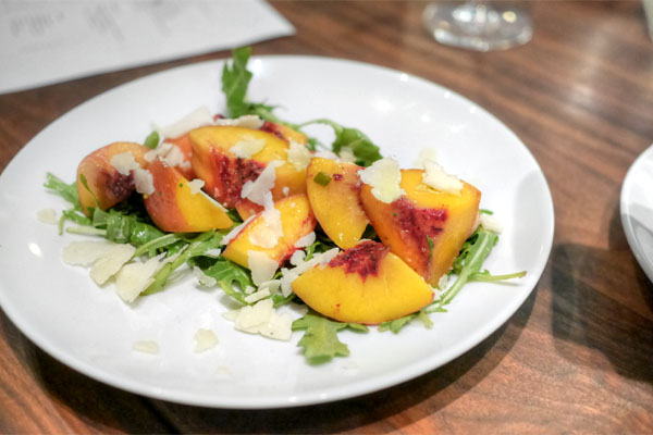 Arugula, Peaches, Pecorino, Black Pepper