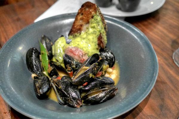 PEI Mussels, Serrano Chile Sofrito, Lamb Sausage