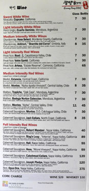 Gwang Yang Wine List