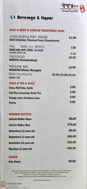 Gwang Yang Beverage & Liquor List