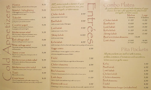 Kabab Crush Menu
