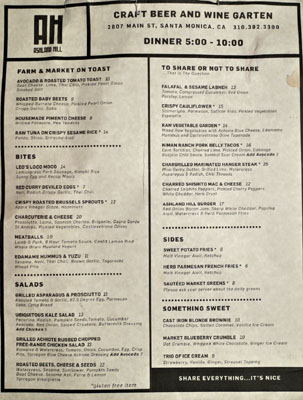 Ashland Hill Menu