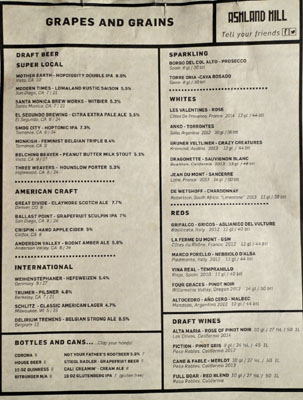 Ashland Hill Beer & Wine List