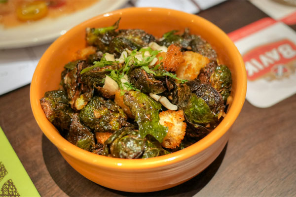 Caramelized Brussels Sprouts over Sourdough Croutons