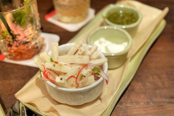 cilantro-onion relish, jicama slaw