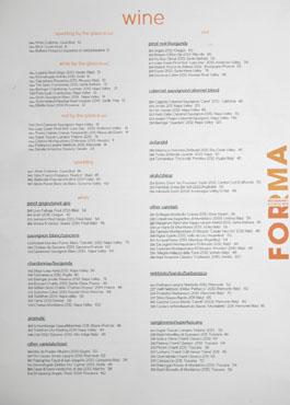 Forma Wine List