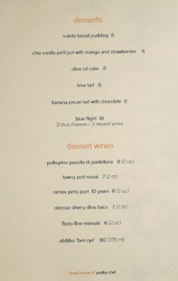 Forma Dessert Menu