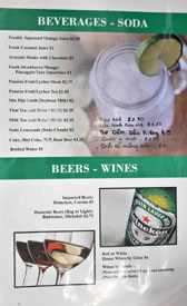 Garlic & Chives Menu: Beverages - Soda / Beers - Wines