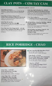 Garlic & Chives Menu: Clay Pots - Com Tay Cam / Rice Porridge - Chao