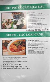 Garlic & Chives Menu: Hot Pots - Cac Loai Lau / Soups - Cac Loai Canh