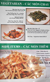 Garlic & Chives Menu: Vegetarian - Cac Mon Chay / Side Items - Cac Mon Them