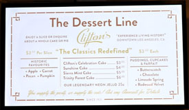 Clifton's Menu: The Dessert Line