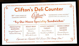 Clifton's Menu: Clifton's Deli Counter