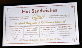 Clifton's Menu: Hot Sandwiches