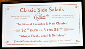 Clifton's Menu: Classic Side Salads