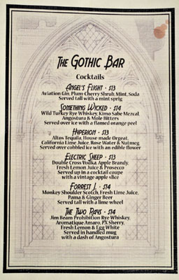 The Gothic Bar Cocktail List