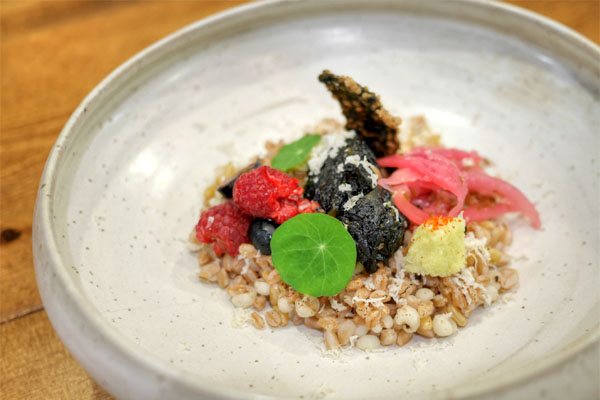 Gim (seaweed), Job's tears, Kamut & farro grains with amazu assorted seaweed comptè w/ shiitake, tofu & spirulina, nasturtium, nori chip, mixed berries, wasabi daikon, lime onion jalapeño pickle