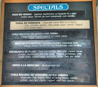 La Super-Rica Taqueria Specials Menu