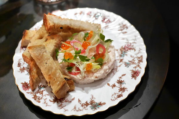 Smoked trout rillette, pickled shallot, lovage, fennel, sourdough