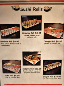 Takaya Yakitori Izakaya Menu: Sushi Rolls