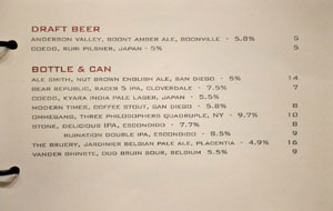 Alexander's Steakhouse Beer List