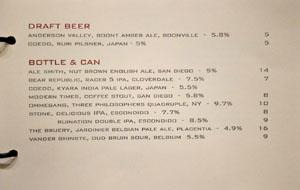 Alexander's Steakhouse Beer List