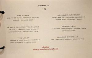 Alexander's Steakhouse Cocktail List