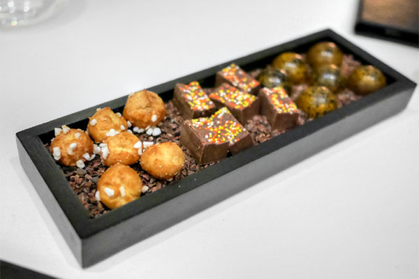Chouquettes, Housemade Fudge with Sprinkles, Salted Caramel Bonbons