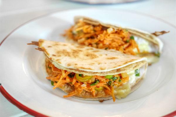 Double decker potato taco, lime, crème fraiche, carrot pico de gallo, jack