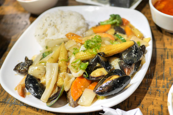 Pan-Fried Seafood over Rice