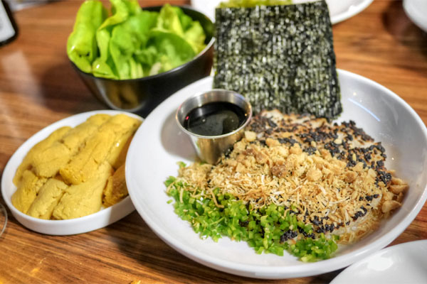 Santa Barbara Uni & Charred Satsuki Rice, Amazing Toasted Nori From Japan, Butter Lettuce, Macadamia Nuts, Jalapeño, Toasted Coconut, Sushi Tare