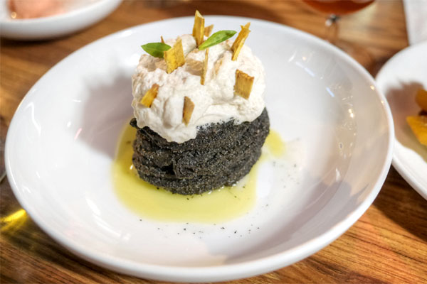 Black Sesame Churros, Kaya, Banana Cream, Coconut Sorbet, Thai Basil