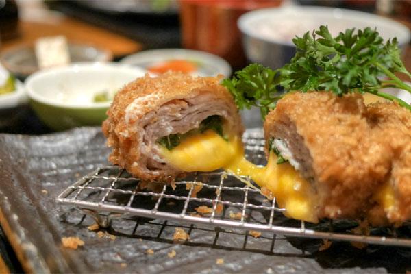 Millefeuille Shiso Cheese Katsu Gozen (Cut Open)