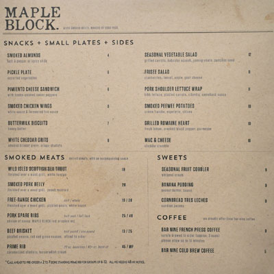 Maple Block Meat Co. Menu