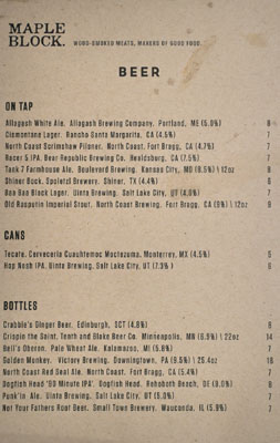 Maple Block Meat Co. Beer List