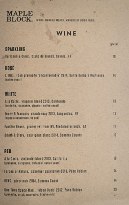 Maple Block Meat Co. Wine List